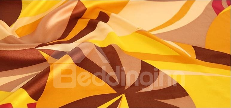 Abstract Bright Yellow Style Design Mulberry Silk Square Scarf
