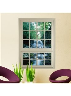 Natural Scenery 3D Window View Waterfall in Forest 3D Wall Sticker