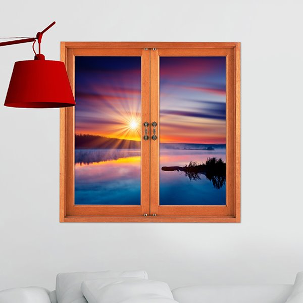 Amazing Sunset at Seaside Window View 3D Wall Sticker