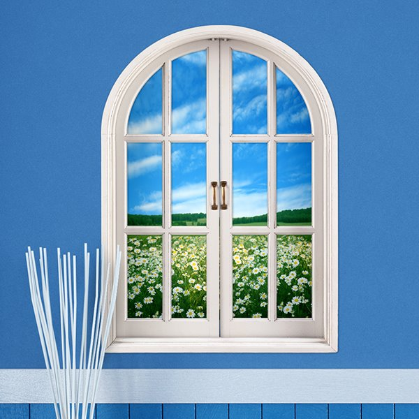 Nature Beauty Window View Flower Field under Blue Sky 3D Wall Sticker