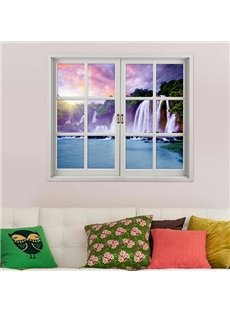Majestic Waterfall Window View 3D Wall Sticker