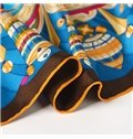 Gorgeous Blue Artistic Bells Print Mulberry Silk Square Scarf
