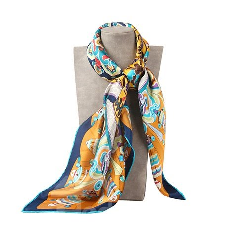 Fabulous Artistic Floral Patterns Mulberry Silk Yellow Square Scarf