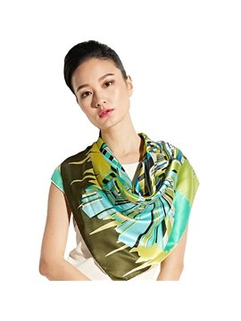 Gorgeous Green Geometric Patterns Mulberry Silk Soft Square Scarf