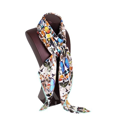 Elegant Fashion Butterflies Print Mulberry Silk Gray Square Scarf