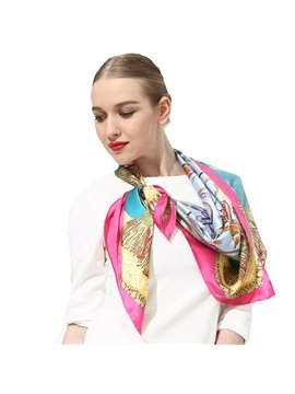 Charming Pink Ribbons and Tassels Print Mulberry Silk Square Scarf
