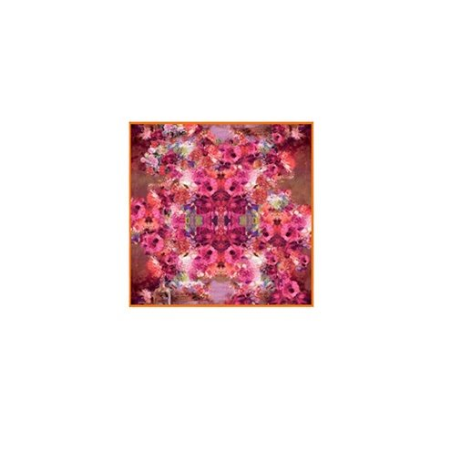 Deluxe Graceful Flowers Print Mulberry Silk Square Scarf