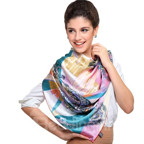 Chic Blue and Pink Harp Patterns Mulberry Silk Square Scarf