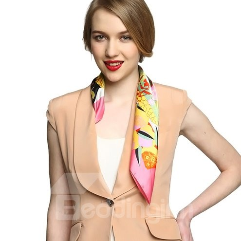 Stylish Gorgeous Pink Floral Patterns Mulberry Silk Square Scarf