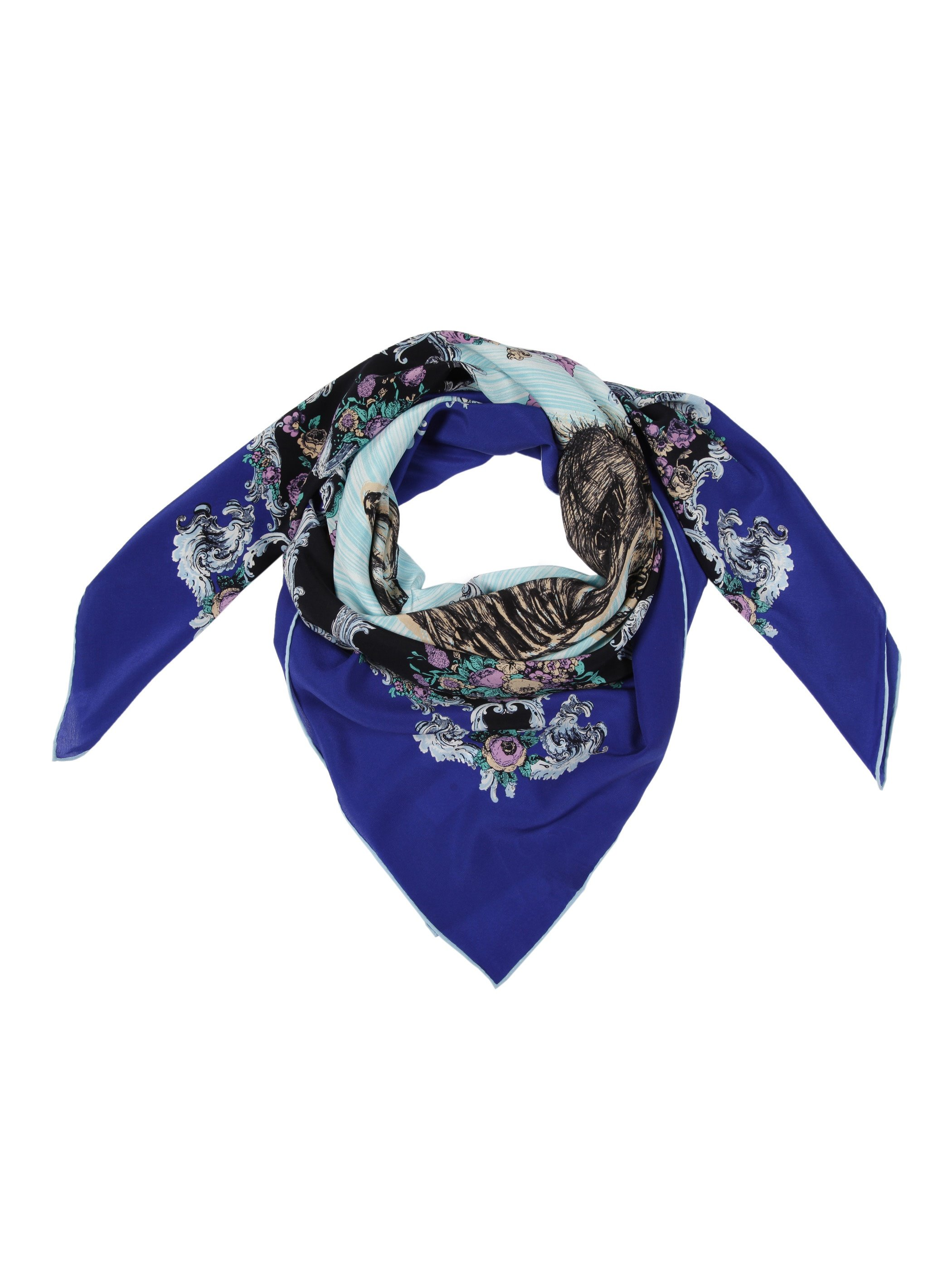 Deluxe Baroque Blue Horse Patterns Mulberry Silk Square Scarf