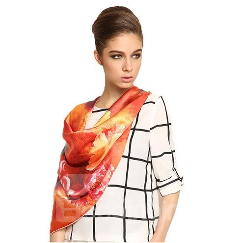 Luxury Chic Orange Various Leaves Print Mulberry Silk Square Scarf
