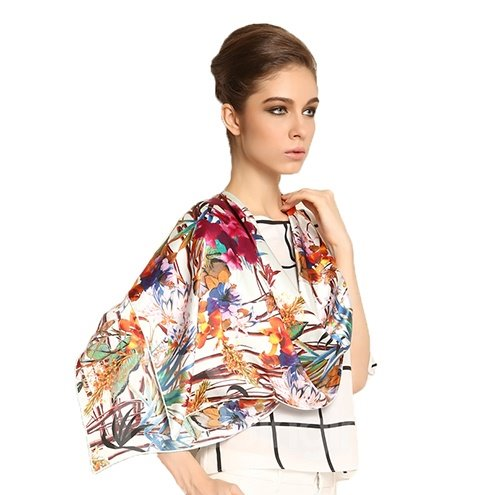 High Quality Graceful Various Leaves Print Mulberry Silk Square Scarf