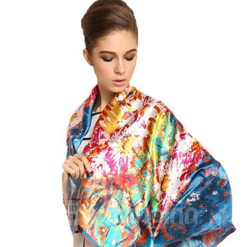 Deluxe Blue Floral Patterns Soft Mulberry Silk Square Scarf