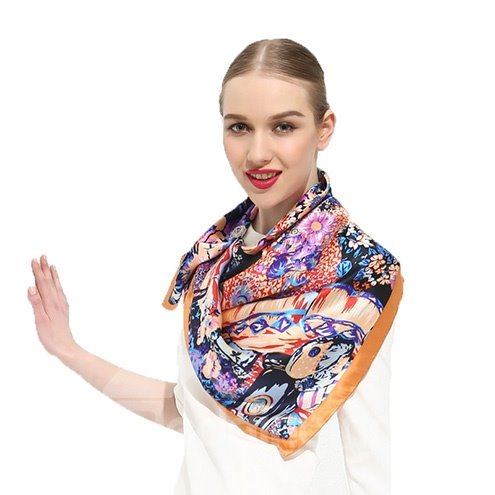 Deluxe Colorful Flowers Patterns Mulberry Silk Square Scarf