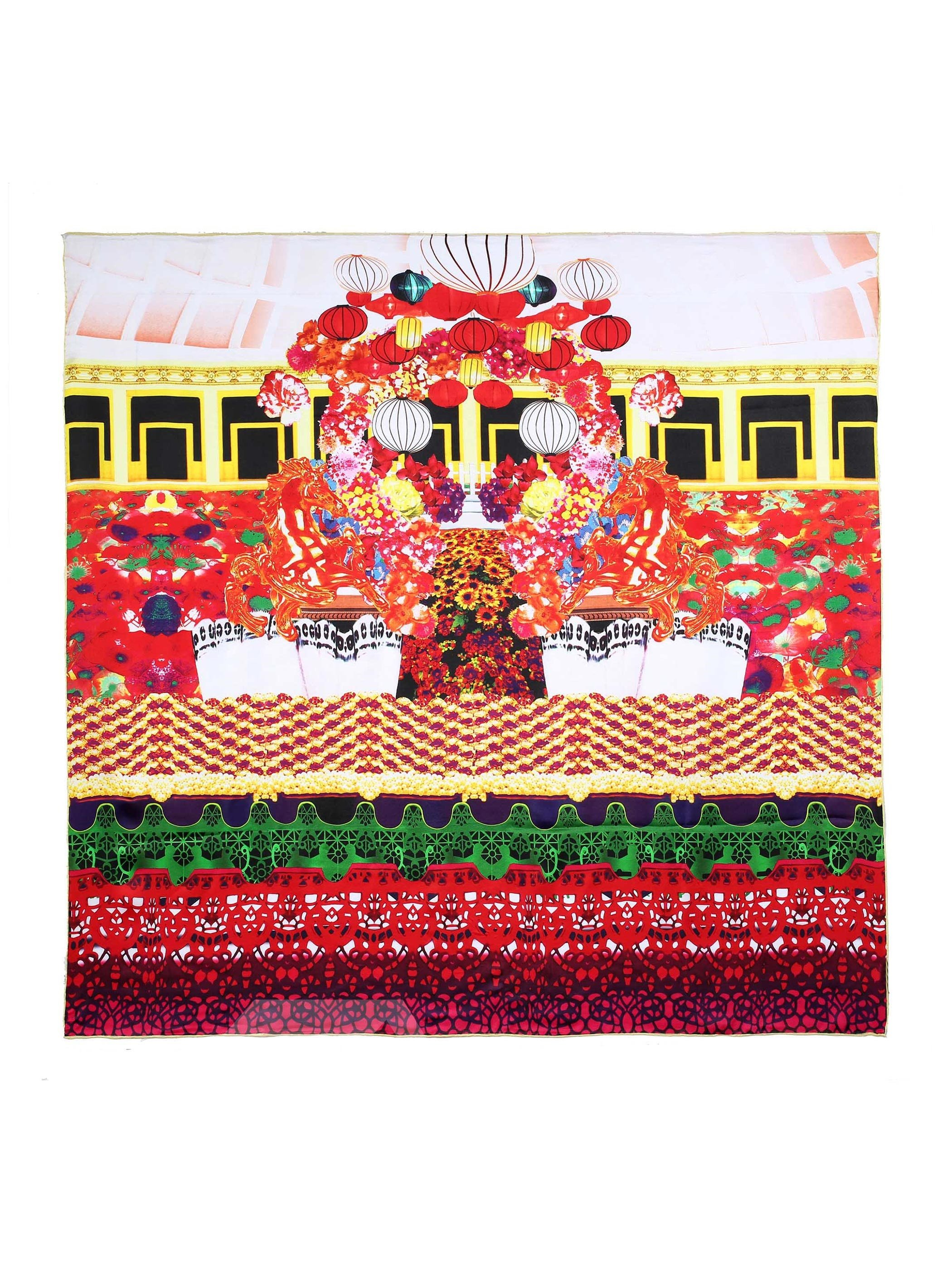 Red Lantern And Flower Tree Tent Beautiful Square Silk Scarf
