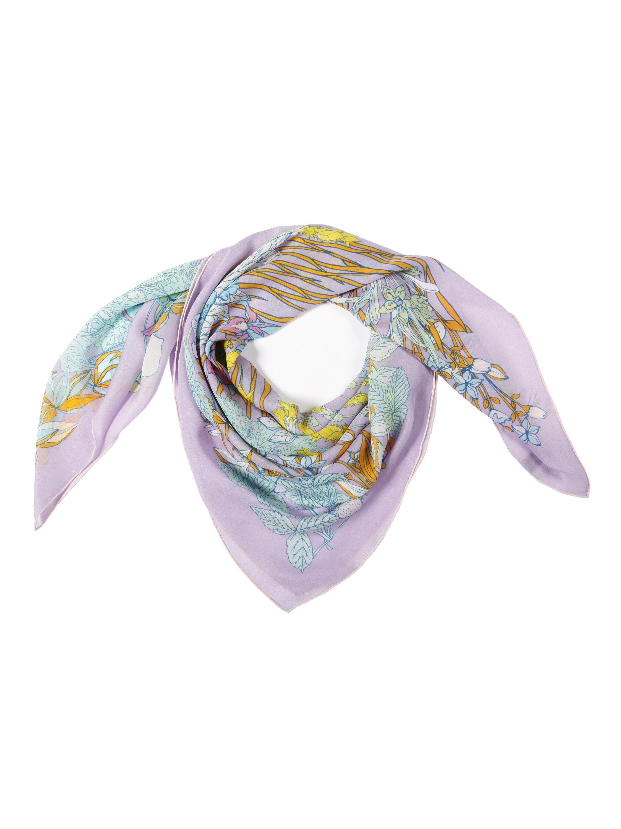 Romantic Lilac Vine With Leaves Beautiful Square Silk Scarf
