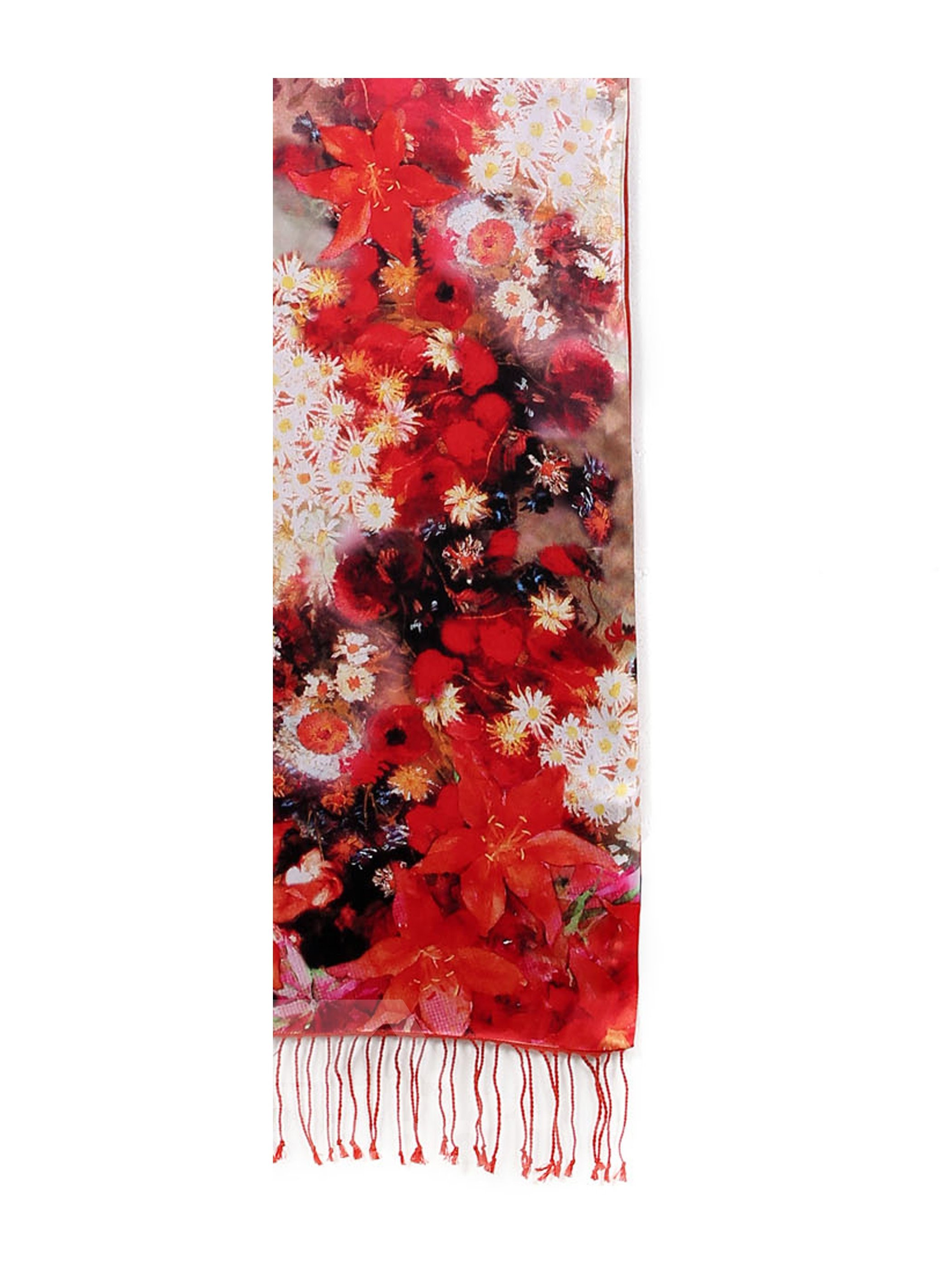Wonderful Red Floral Pattern Double Layer Mulberry Long Silk Scarf