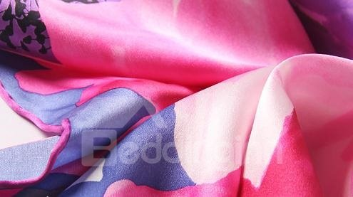 Fantastic Red and Purple Flower Mulberry Silk Long Scarf