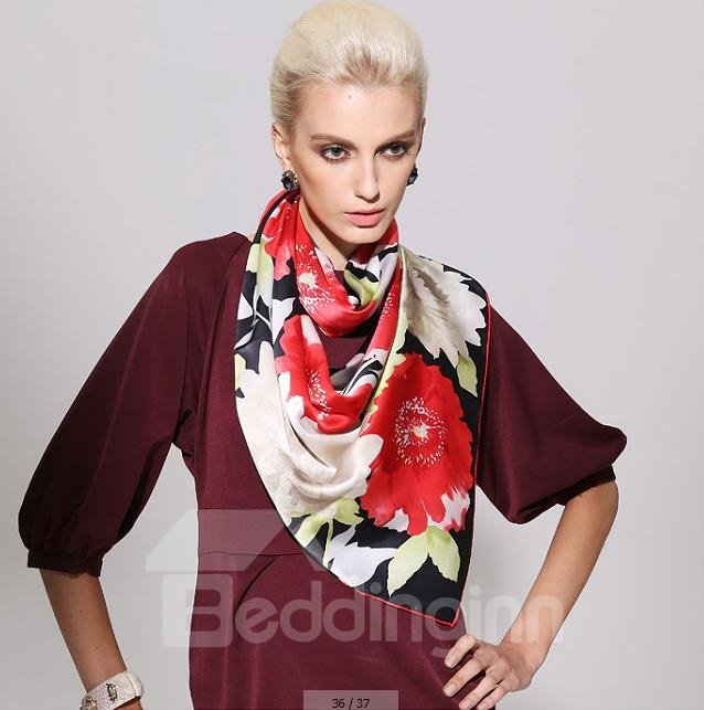 Fantastic Red and White Flower Mulberry Silk Long Scarf