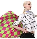 Stylish Green and Red Checks Patterns Mulberry Silk Square Scarf