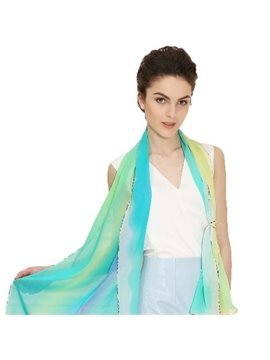 Stylish Gradient Green Contra Trim Mulberry Silk Long Scarf