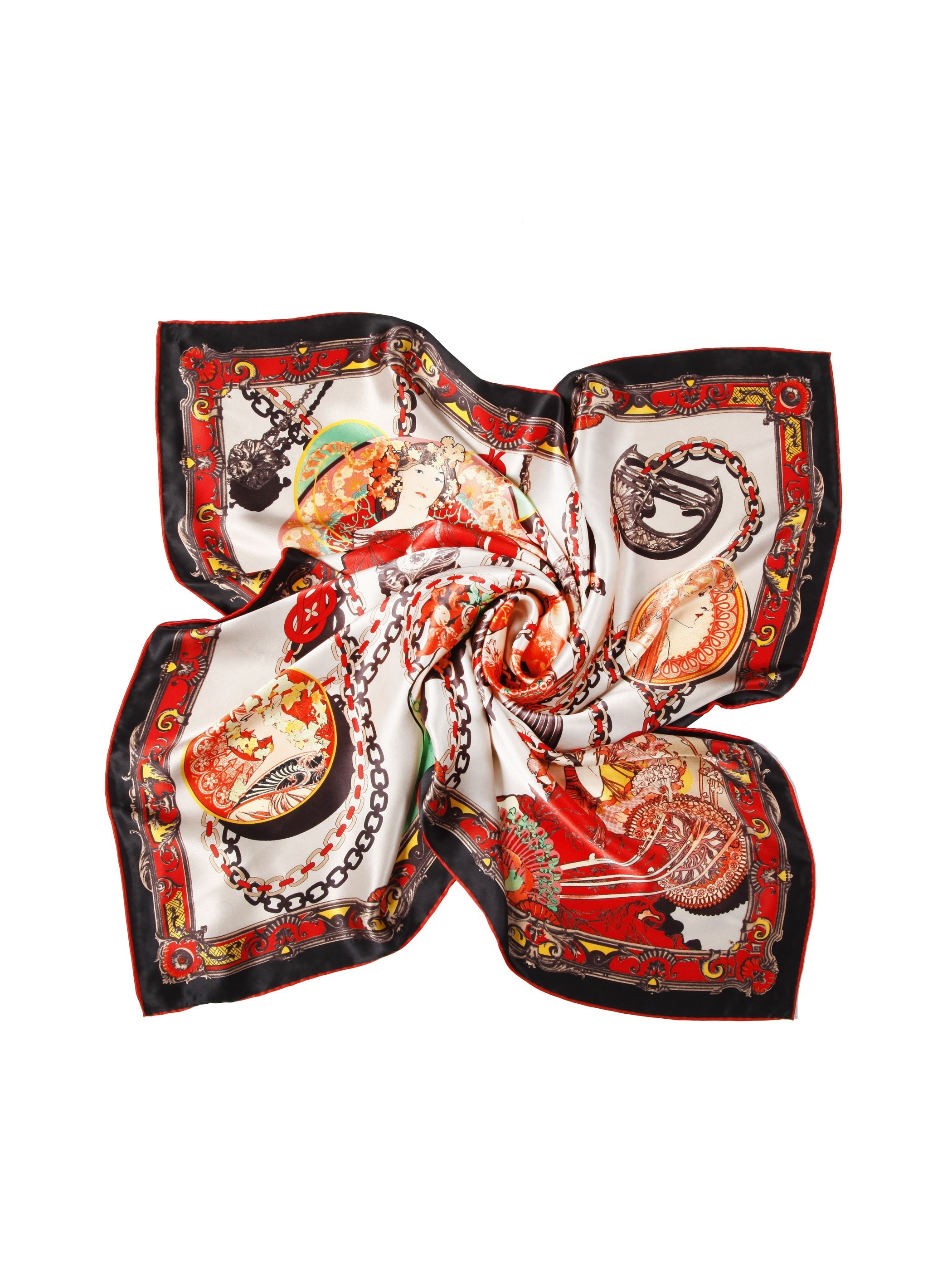 Beauty In Forest With Chained Beads Casual Square Silk Scarf