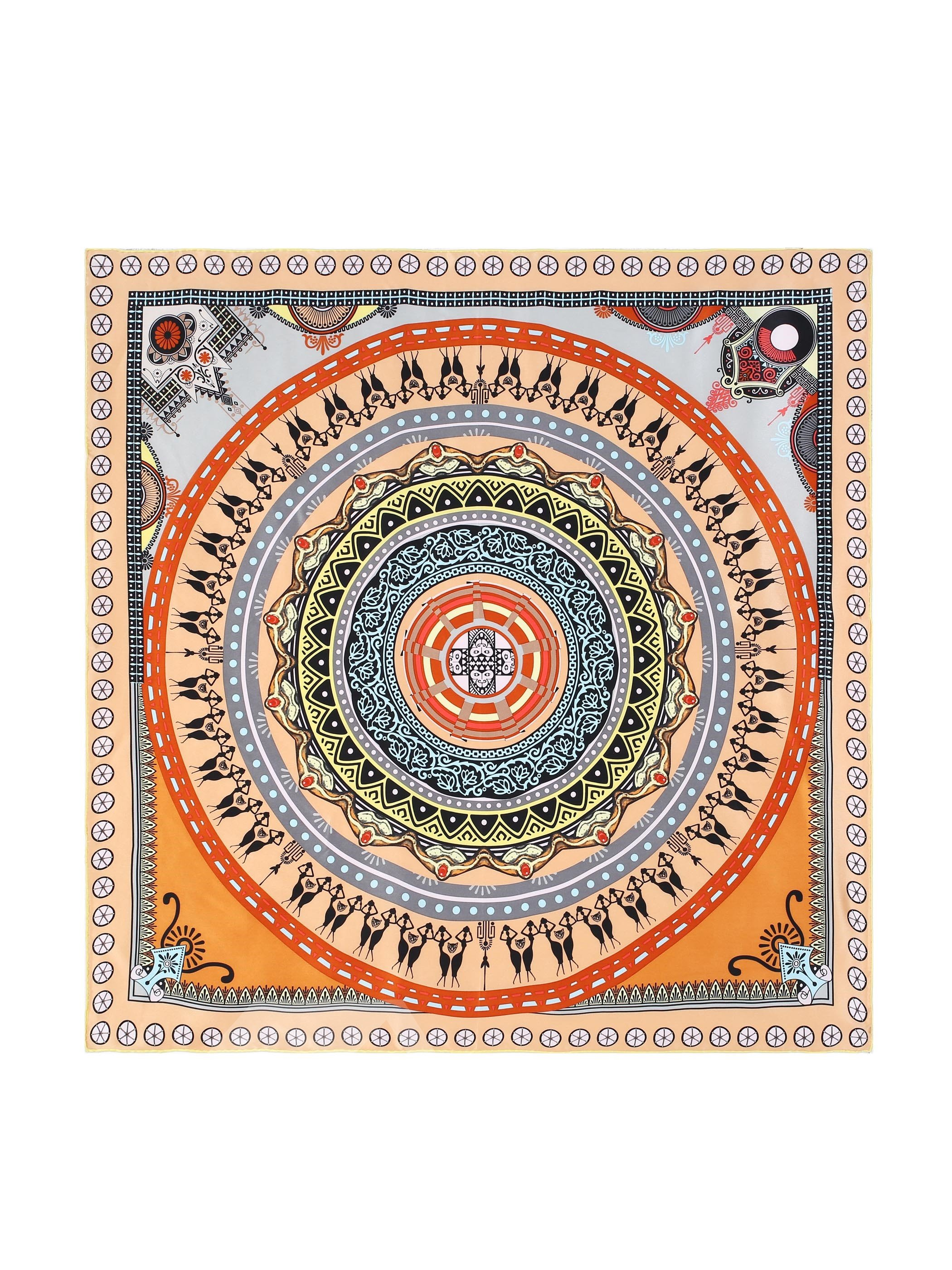 Mysterious Figure On Circle Pattern Beautful Square Silk Scarf