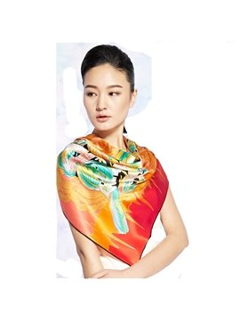 Birds On Butterfly Wings Orange Square Beautiful Silk Scarf