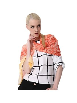 Gradient Orange Flowers Patterns Mulberry Silk Long Scarf