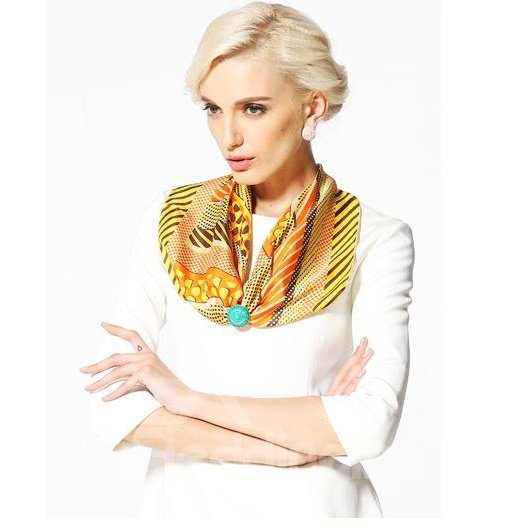 Classic Yellow Dots and Strap Design Beautiful Silk Square Scarf