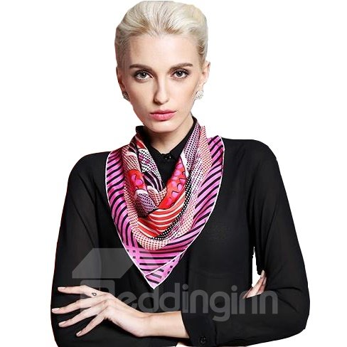 Classic Dots and Strap Design Silk Beautiful Square Scarf