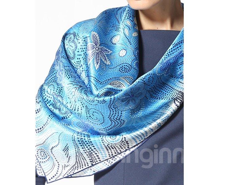 Beautiful Blue Flower and Spot Pattern Beautiful Silk Square Scarf