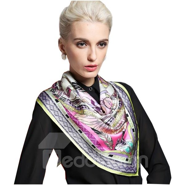 Stylish Wild Feather Party Beautiful Silk Square Scarf