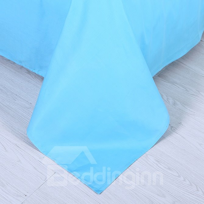 Hot Selling Solid Blue 4-Piece Duvet Cover Sets