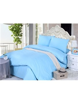 Elegant Sky Blue Solid Color 4-Piece Cotton Duvet Cover Sets with Zipper