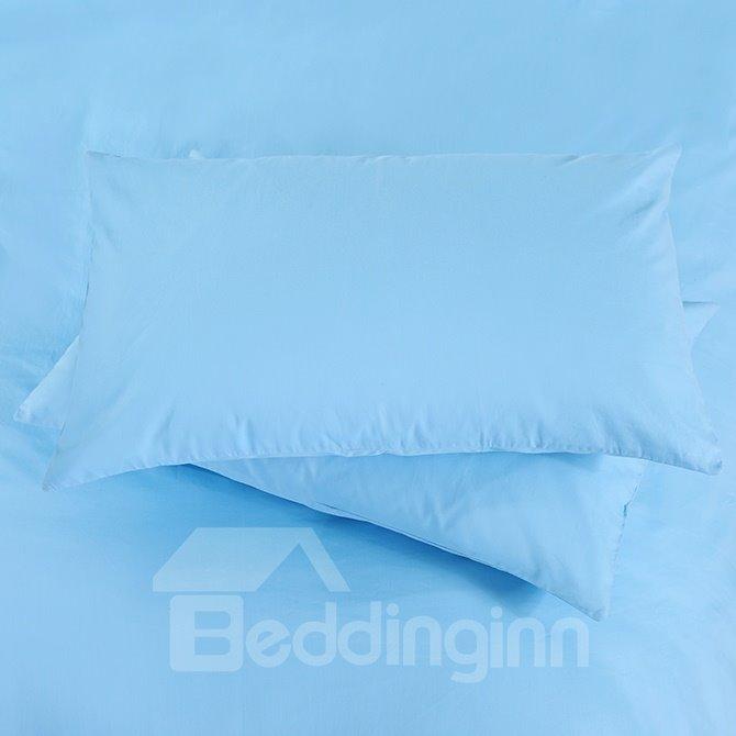 Elegant Sky Blue Solid Color 4-Piece Cotton Duvet Cover Sets with Zipper