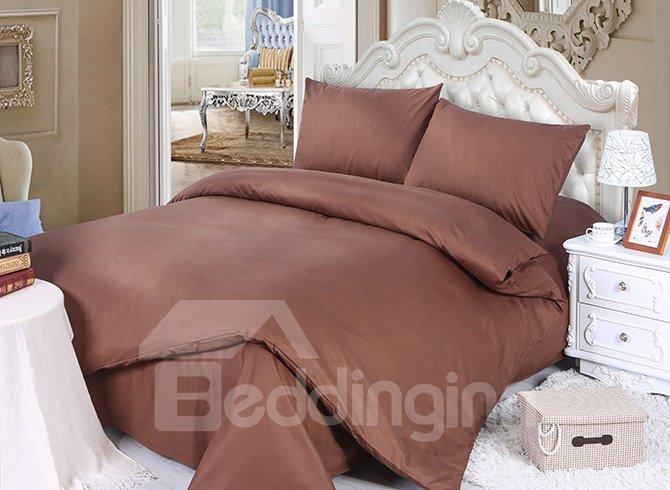 100% Cotton Solid Brown 4-Piece Duvet Cover Sets