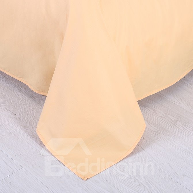 Solid Yellow Full Cotton 4-Piece Duvet Cover Sets with Zipper Design