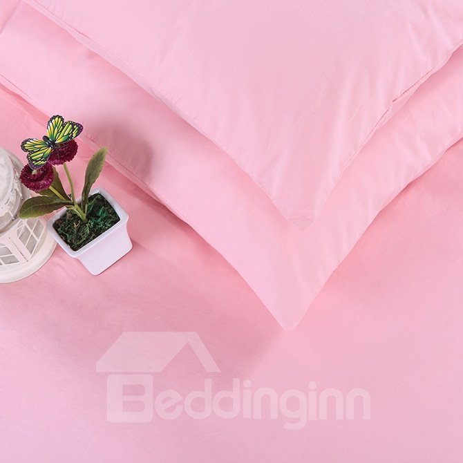 Handy Zipper Design Adorable Solid Pink 4-Piece Duvet Cover Sets
