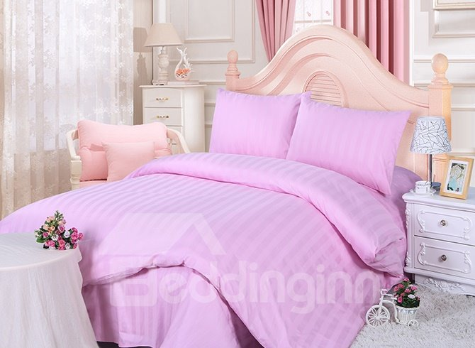 Lovely Pink Stripe Design Solid Color 4-Piece Duvet Cover Sets