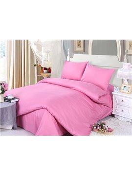 Solid Rosy 100% Cotton 4-Piece Duvet Cover Sets