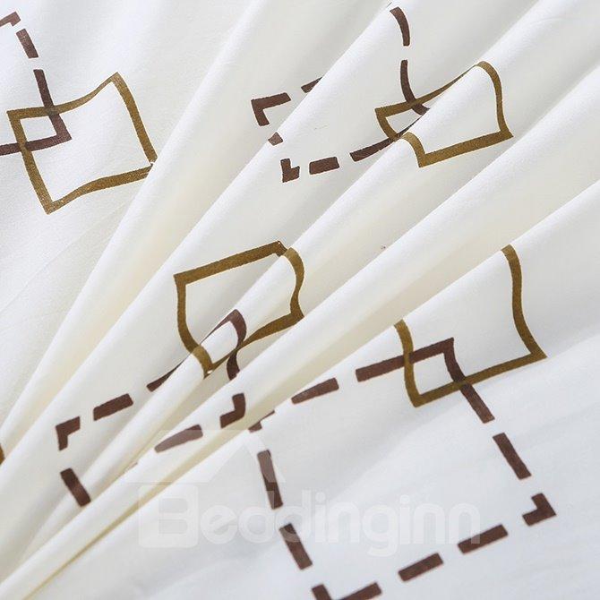 Fashionable Dash Line Checks Print 4-Piece Duvet Cover Sets