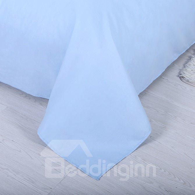 Pure Sky Blue 4-Piece Cotton Duvet Cover Sets with Zipper