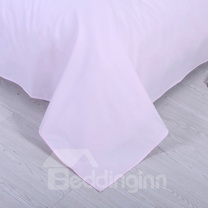 Zipper Design Sweet Pure Pink 4-Piece Duvet Cover Sets
