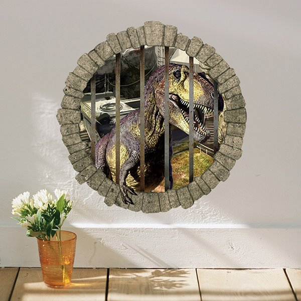 Wonderful Dinosaur Locked Up Behind Bars Removable D Wall Sticker - 3d dinosaur wall decals