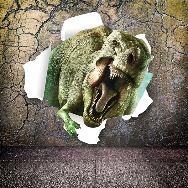 Marvelous Dinosaur Breaking Through Walls Removable 3d