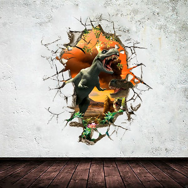 Fierce Dinosaur Breaking Through the Wall 3D Wall Stickers