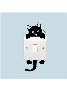 Vivid Cute Black Cat Light Switch Removable Wall Sticker