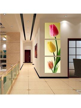 16×16in×3 Panels Tulip Pattern Vertically Hanging Canvas Waterproof and Eco-friendly Framed Prints