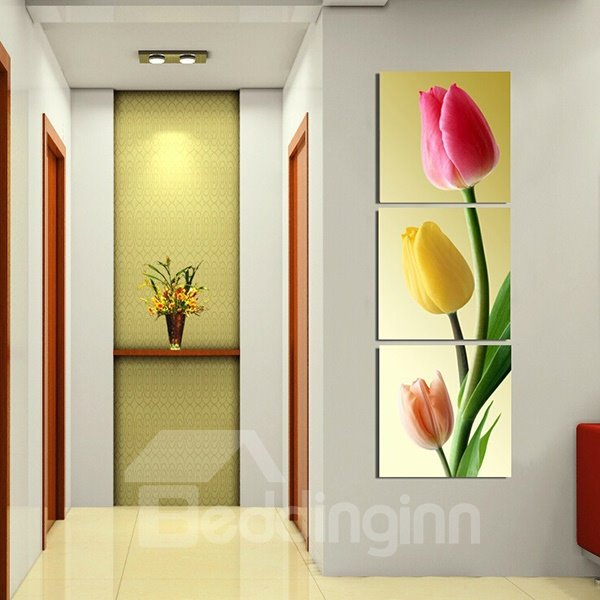 16×16in×3 Panels Tulip Pattern Vertically Hanging Canvas Waterproof ...